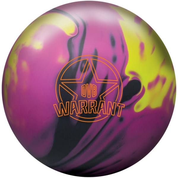 Warrant Solid Bowling Ball in Black, Magenta, and Yellow.